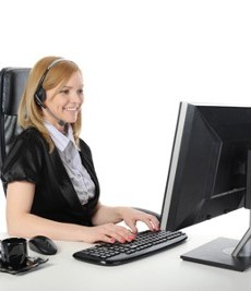 Woman on a Computer - Distribution Software